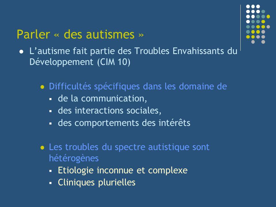 Parler « des autismes » L'autisme fait partie des Troubles Envahissants du Développement (CIM 10) Difficultés spécifiques dans les domaine de.