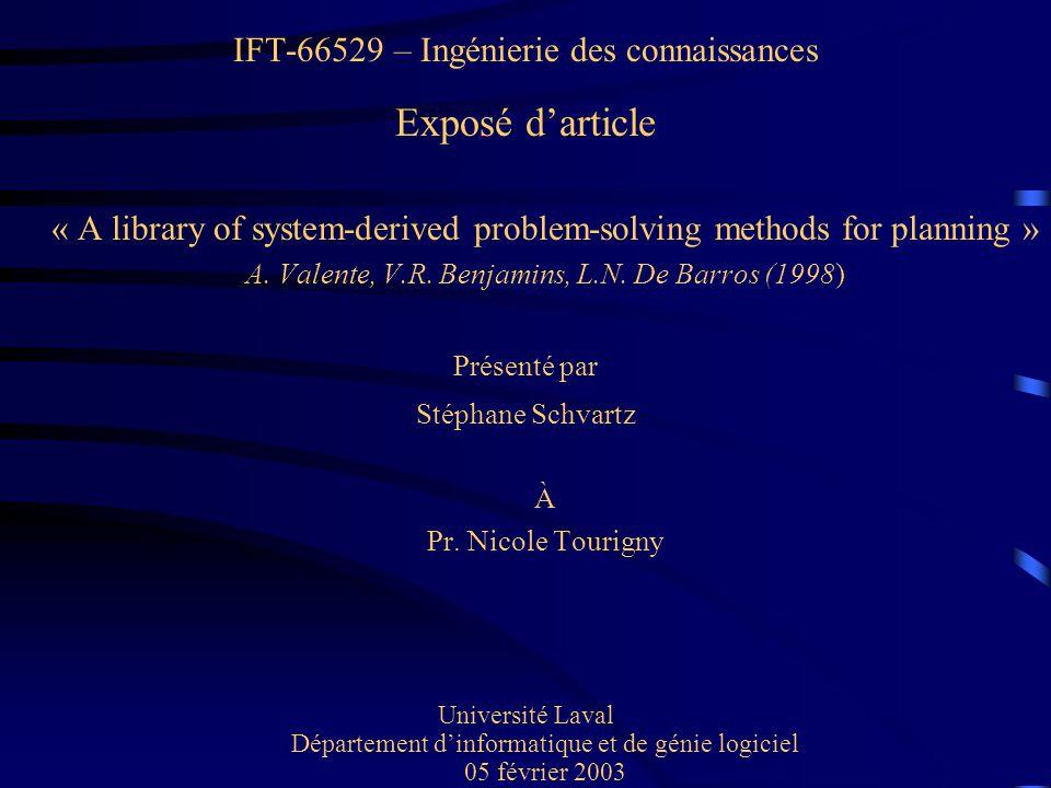 Exposé d'article IFT-66529 – Ingénierie des connaissances Présenté par
