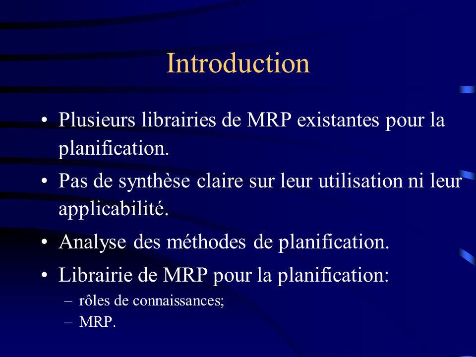 Introduction Plusieurs librairies de MRP existantes pour la planification. Pas de synthèse claire sur leur utilisation ni leur applicabilité.