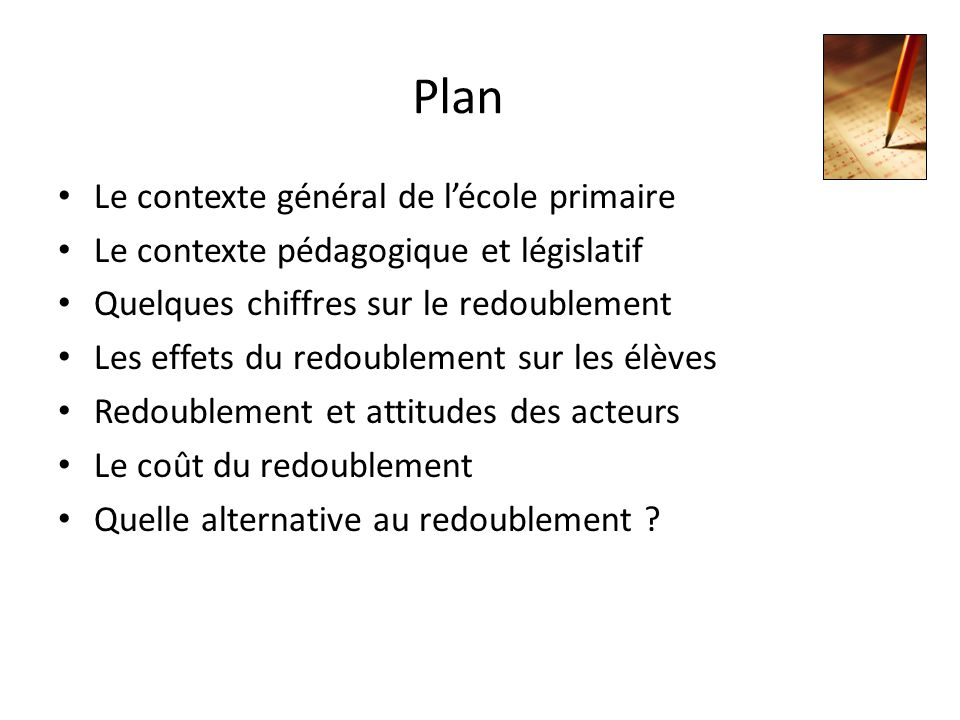 Plan Le contexte général de l'école primaire