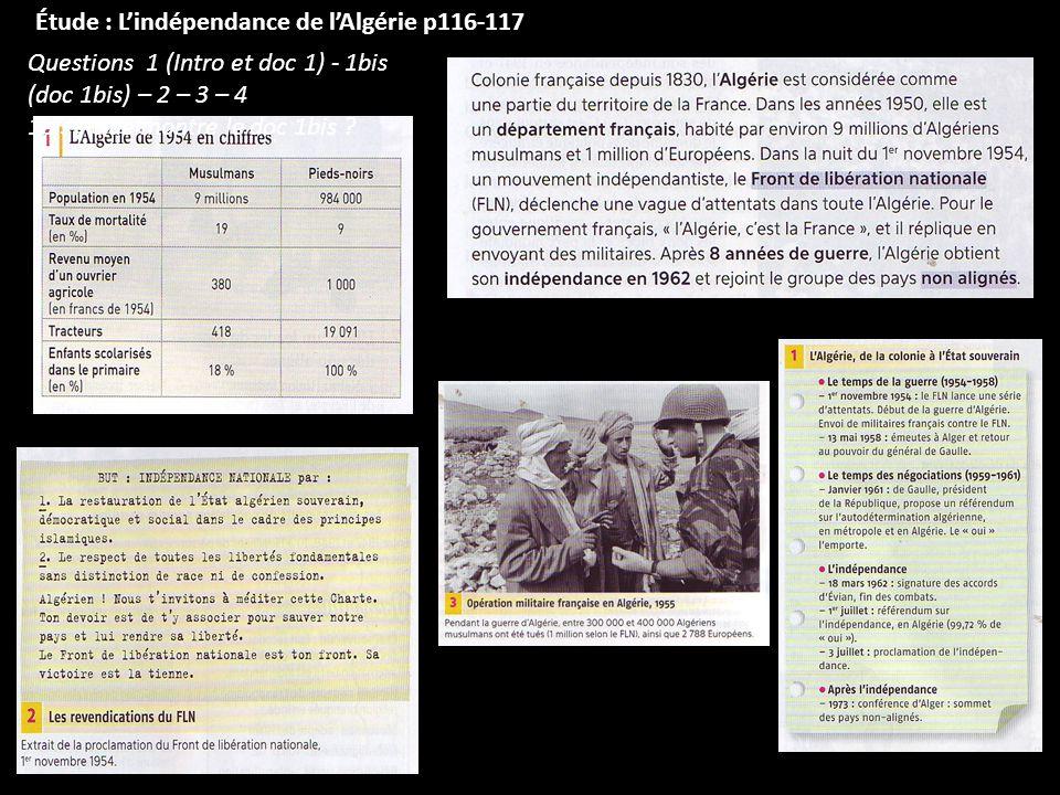Étude : L'indépendance de l'Algérie p116-117