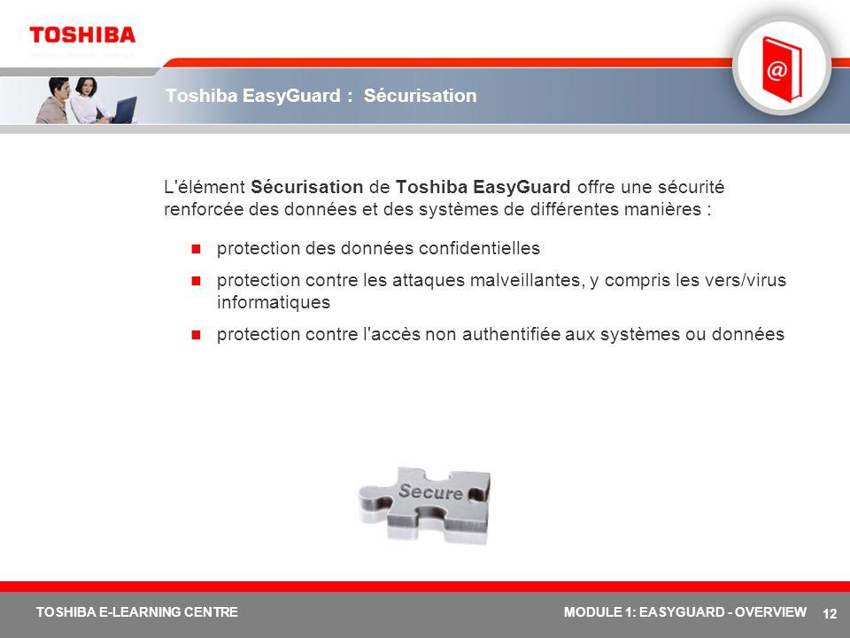 Toshiba EasyGuard : Sécurisation