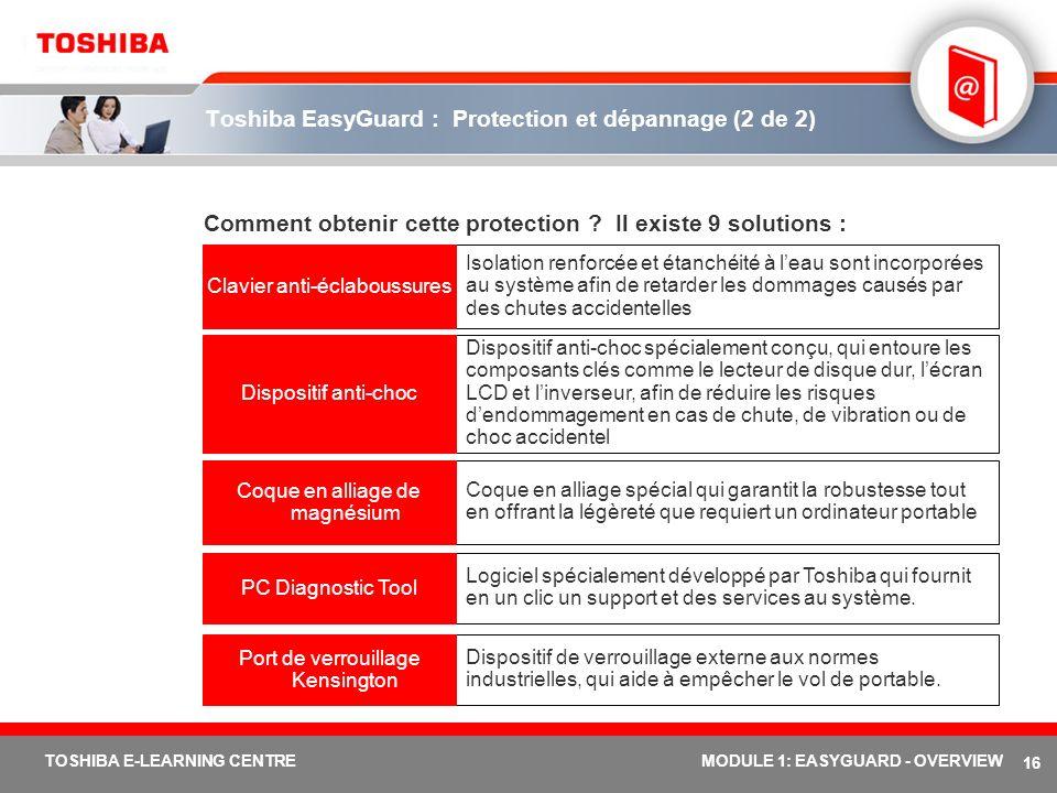Toshiba EasyGuard : Protection et dépannage (2 de 2)