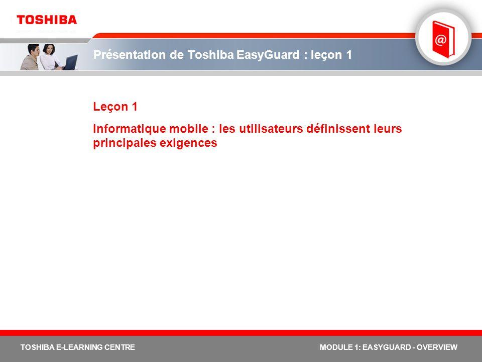 Présentation de Toshiba EasyGuard : leçon 1