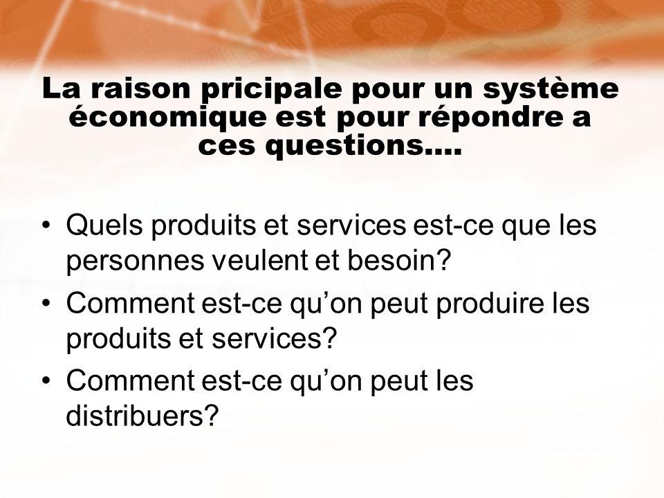 La raison pricipale pour un système économique est pour répondre a ces questions....