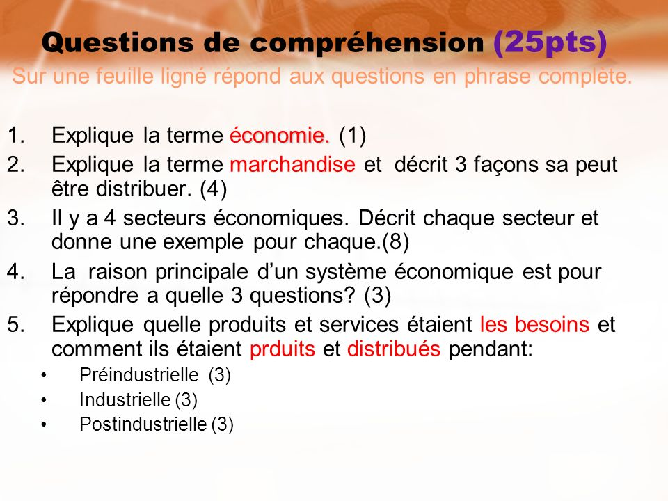 Questions de compréhension (25pts)