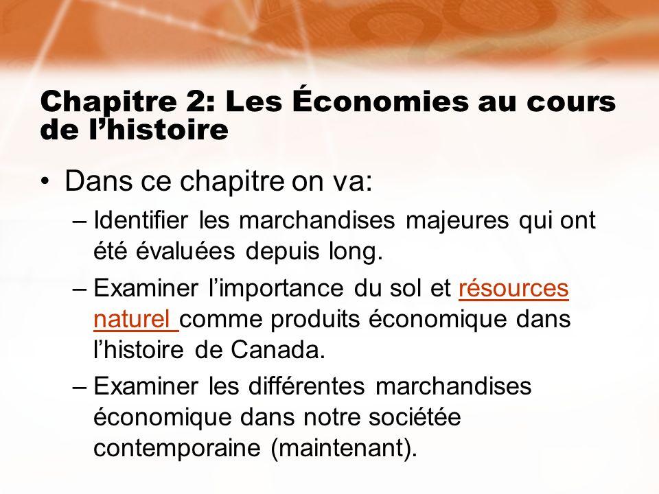 Chapitre 2: Les Économies au cours de l'histoire