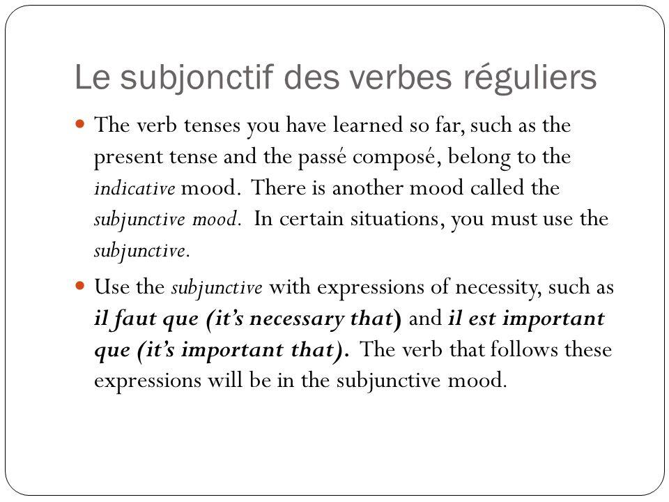 Le subjonctif des verbes réguliers