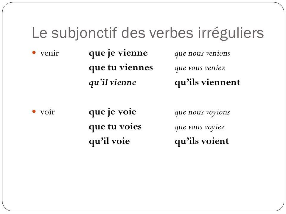 Le subjonctif des verbes irréguliers