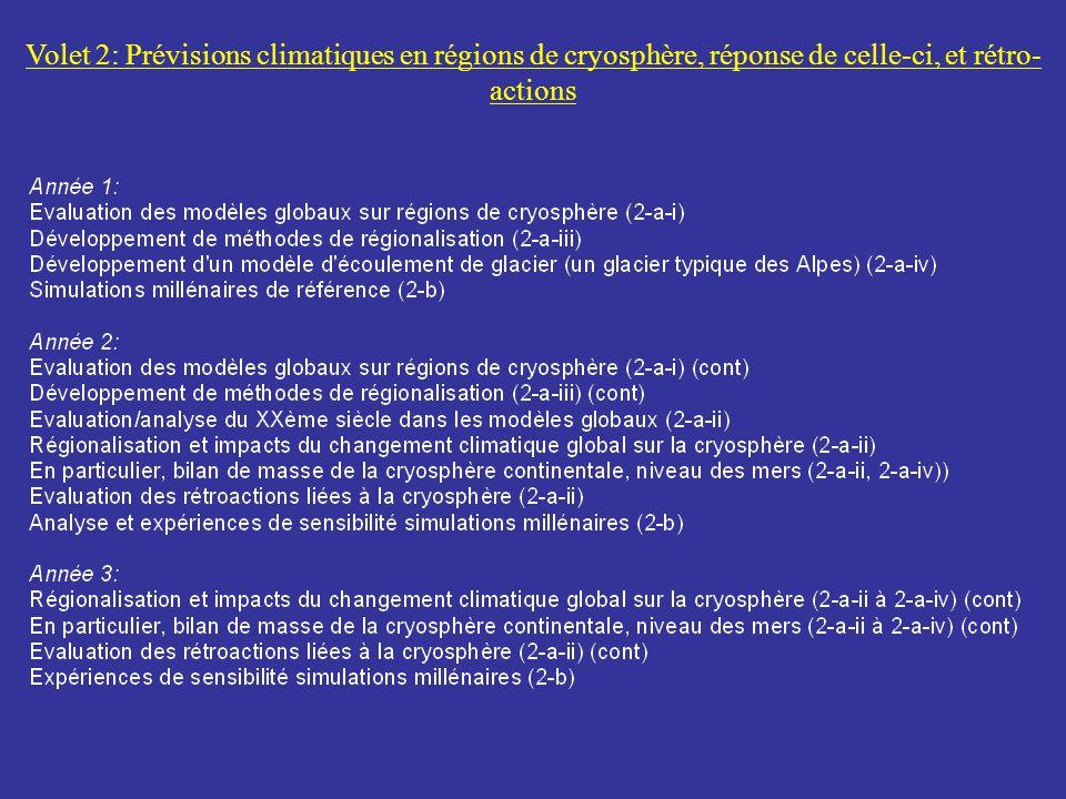 Volet 2: Prévisions climatiques en régions de cryosphère, réponse de celle-ci, et rétro-actions