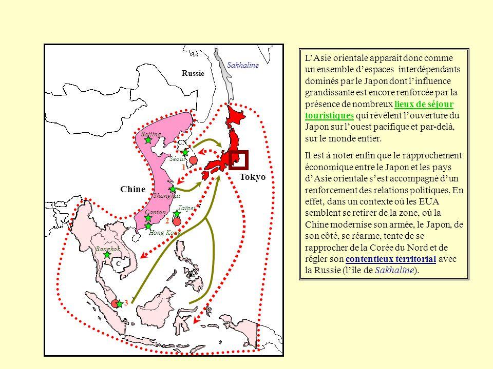 L'Asie orientale apparait donc comme un ensemble d'espaces interdépendants dominés par le Japon dont l'influence grandissante est encore renforcée par la présence de nombreux lieux de séjour touristiques qui révélent l'ouverture du Japon sur l'ouest pacifique et par-delà, sur le monde entier.