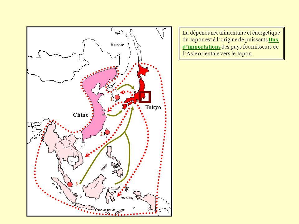 La dépendance alimentaire et énergétique du Japon est à l'origine de puissants flux d'importations des pays fournisseurs de l'Asie orientale vers le Japon.
