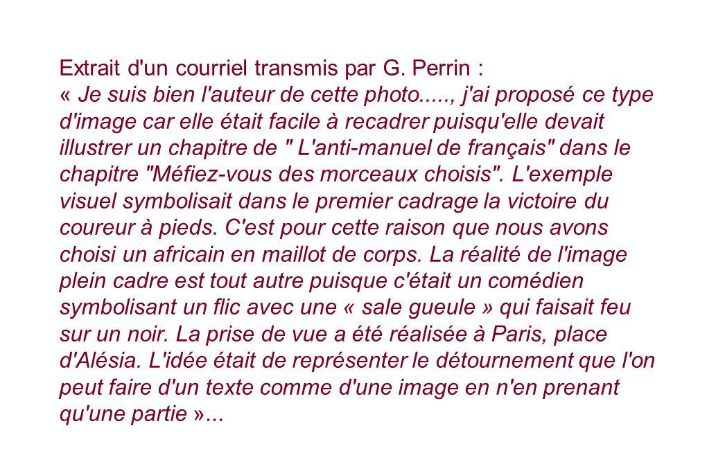 Extrait d un courriel transmis par G. Perrin :