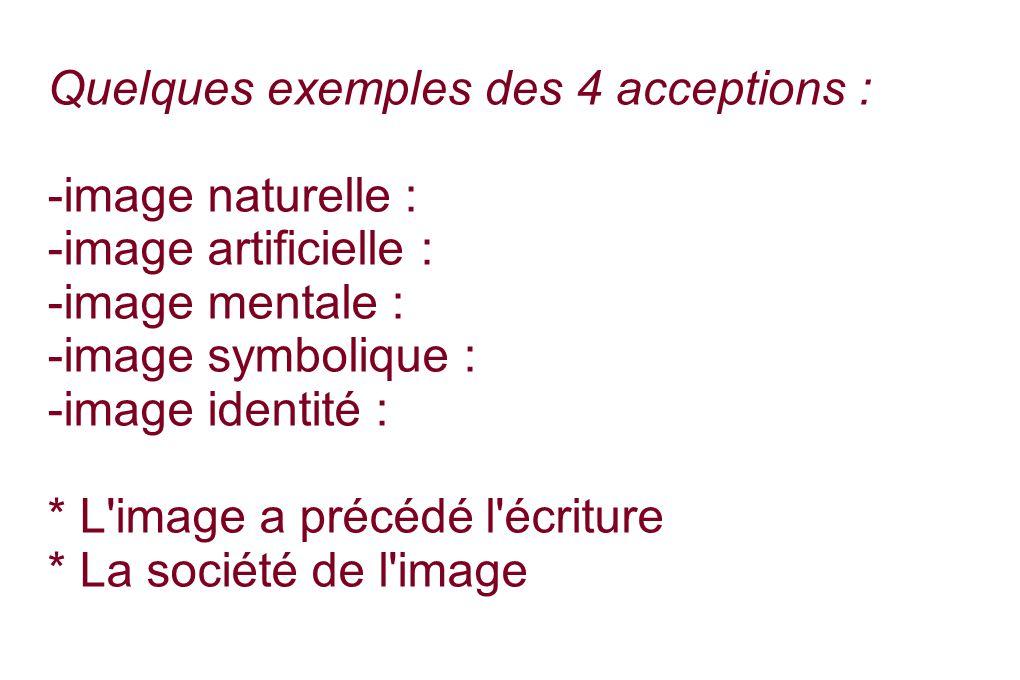 Quelques exemples des 4 acceptions :