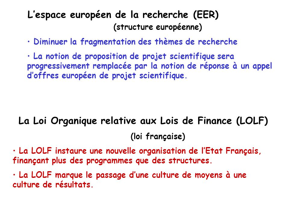 L'espace européen de la recherche (EER) (structure européenne)