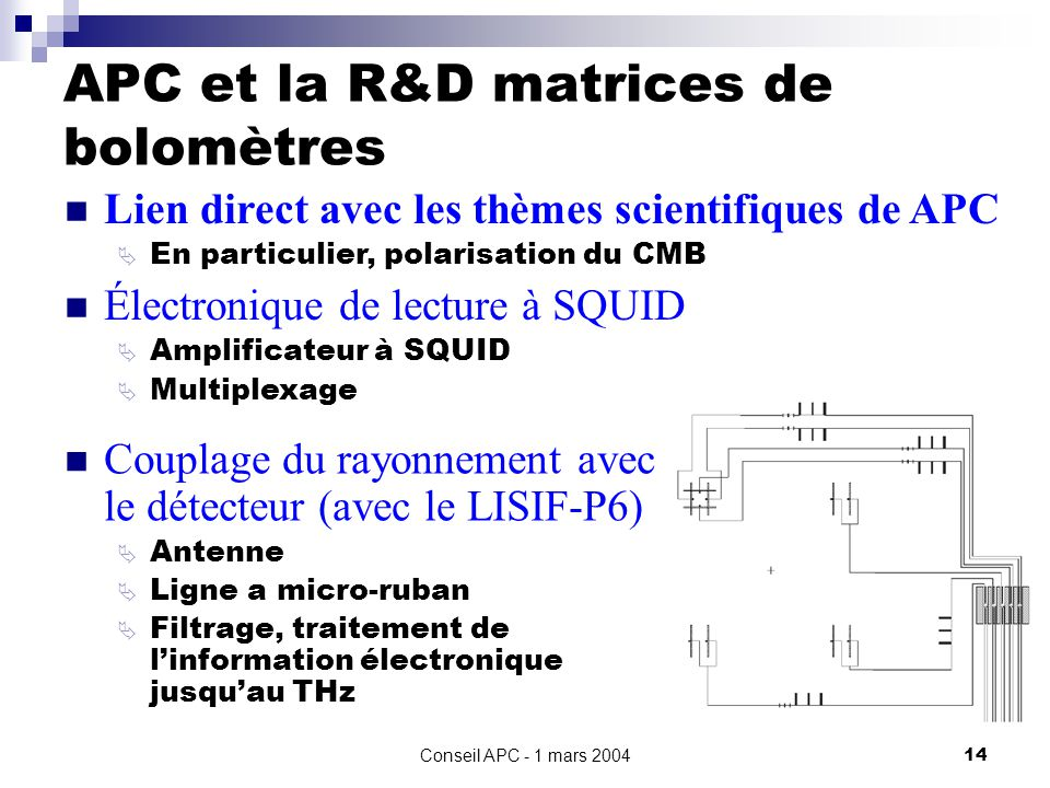 APC et la R&D matrices de bolomètres