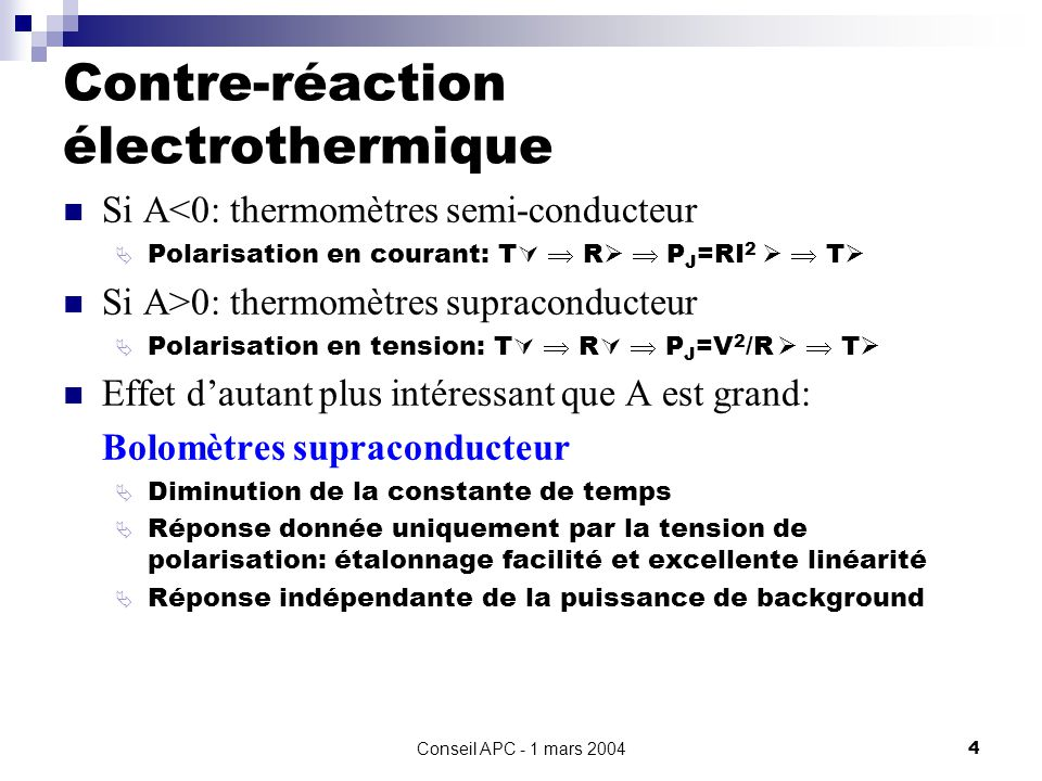 Contre-réaction électrothermique