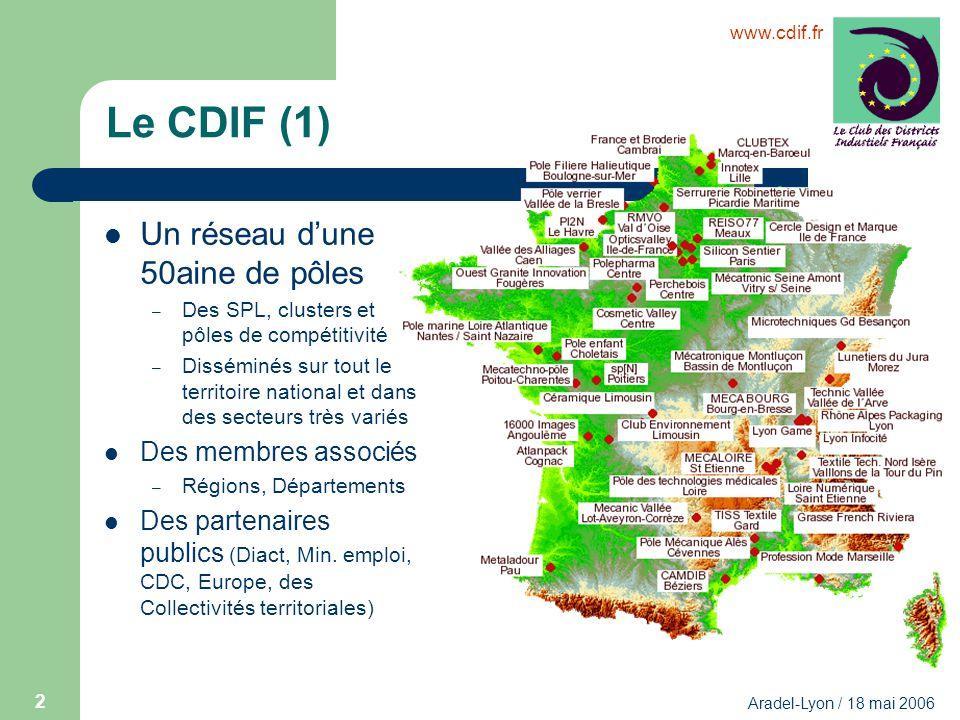 Le CDIF (1) Un réseau d'une 50aine de pôles Des membres associés