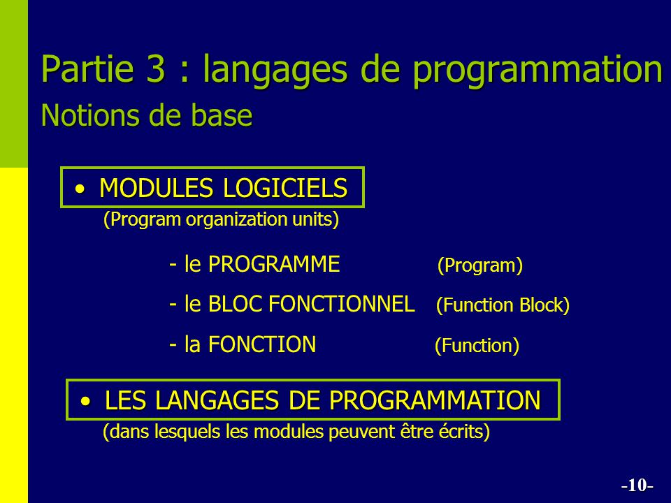 Partie 3 : langages de programmation Notions de base