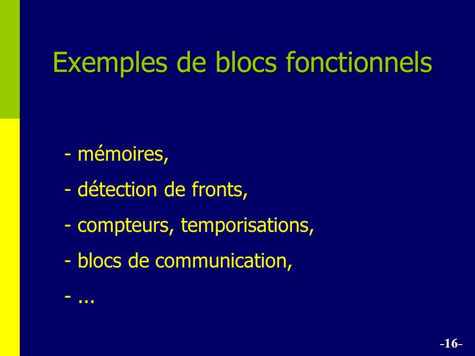 Exemples de blocs fonctionnels