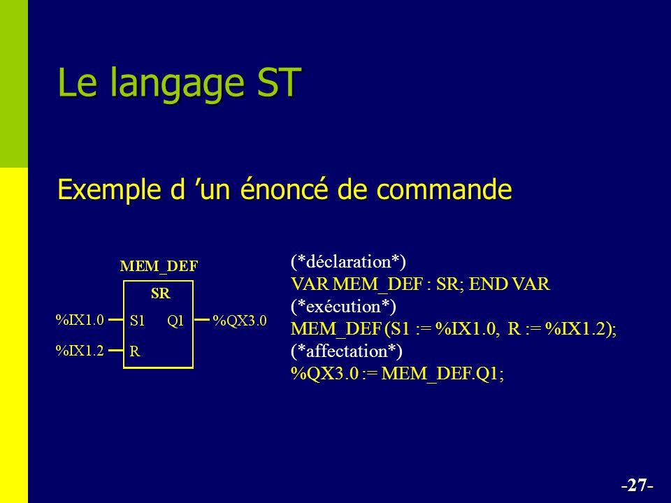 Le langage ST Exemple d 'un énoncé de commande (*déclaration*)
