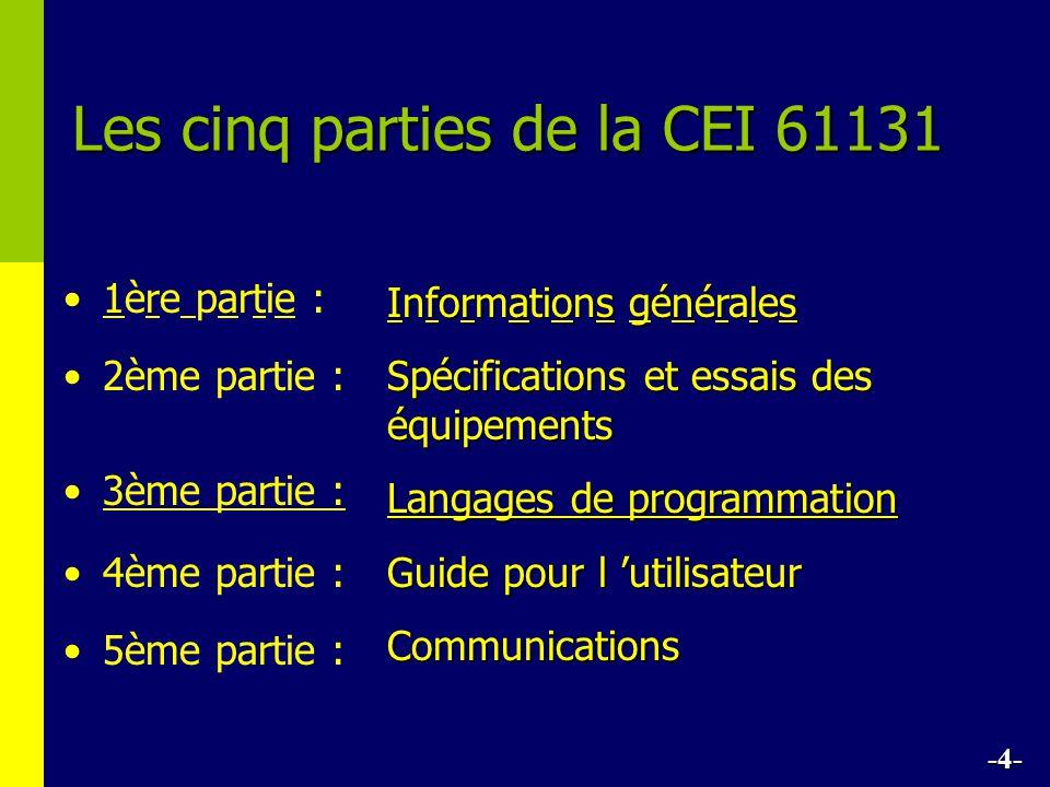 Les cinq parties de la CEI 61131