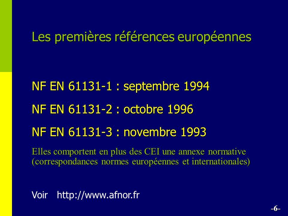 Les premières références européennes