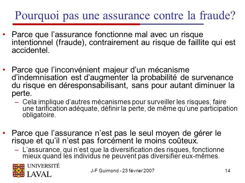 Pourquoi pas une assurance contre la fraude
