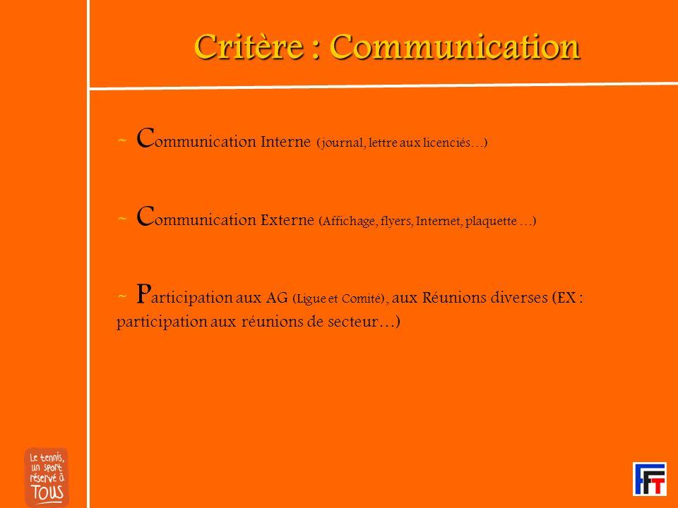 Critère : Communication