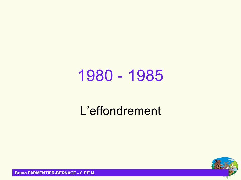 1980 - 1985 L'effondrement Bruno PARMENTIER-BERNAGE – C.P.E.M.
