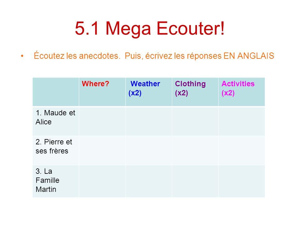 5.1 Mega Ecouter! Écoutez les anecdotes. Puis, écrivez les réponses EN ANGLAIS. Where Weather (x2)