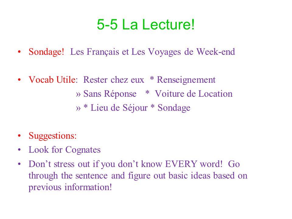 5-5 La Lecture! Sondage! Les Français et Les Voyages de Week-end