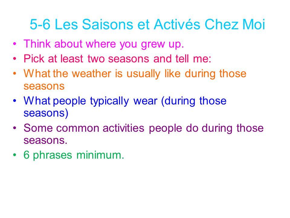 5-6 Les Saisons et Activés Chez Moi