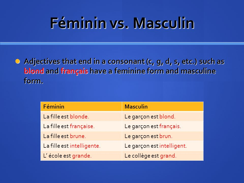 Féminin vs. Masculin Adjectives that end in a consonant (c, g, d, s, etc.) such as blond and français have a feminine form and masculine form.