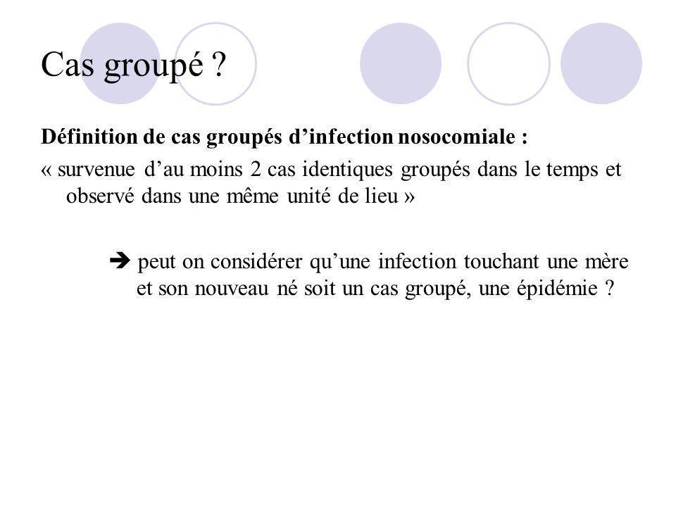 Cas groupé Définition de cas groupés d'infection nosocomiale :