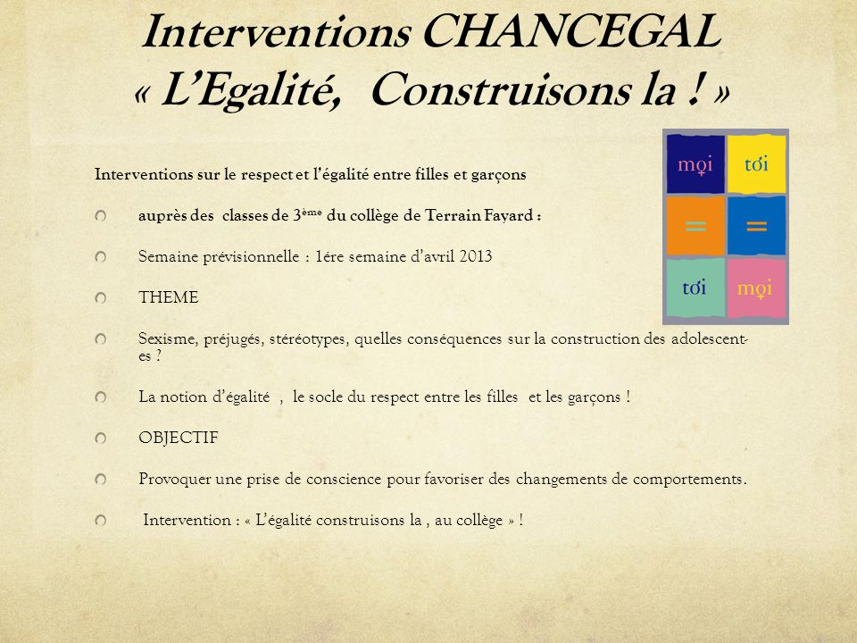 Interventions CHANCEGAL « L'Egalité, Construisons la ! »