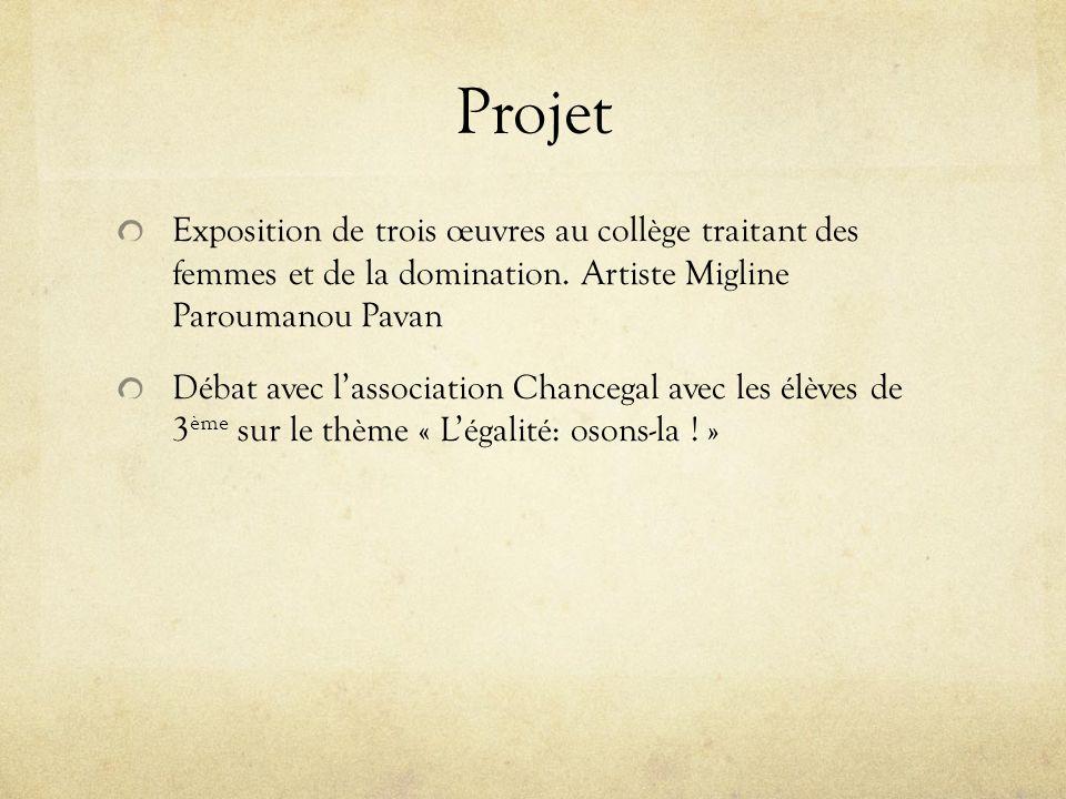 Projet Exposition de trois œuvres au collège traitant des femmes et de la domination. Artiste Migline Paroumanou Pavan.