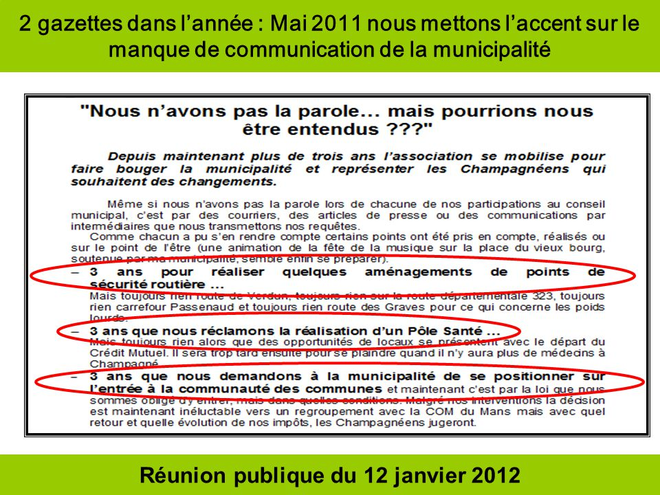 Réunion publique du 12 janvier 2012