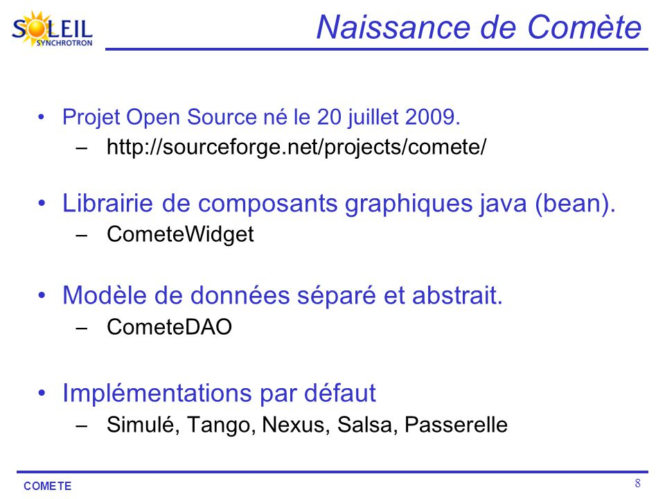 Naissance de Comète Librairie de composants graphiques java (bean).