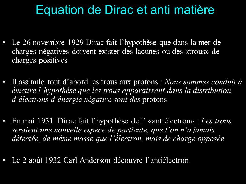 Equation de Dirac et anti matière