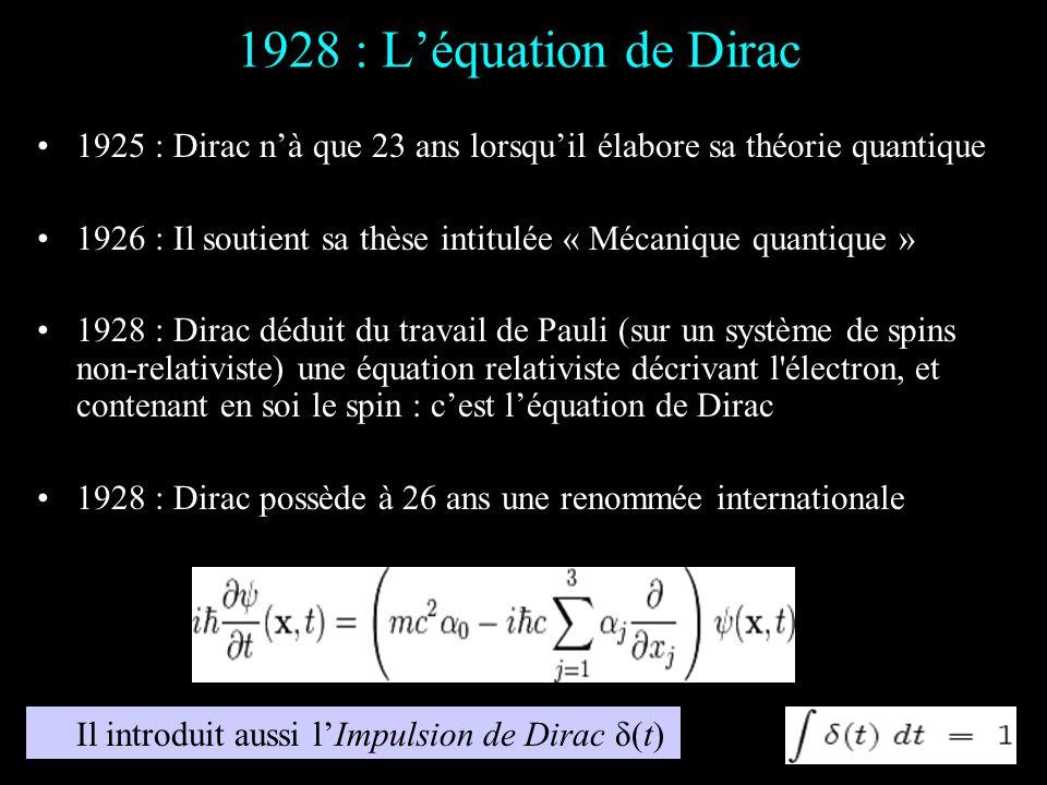 1928 : L'équation de Dirac 1925 : Dirac n'à que 23 ans lorsqu'il élabore sa théorie quantique.