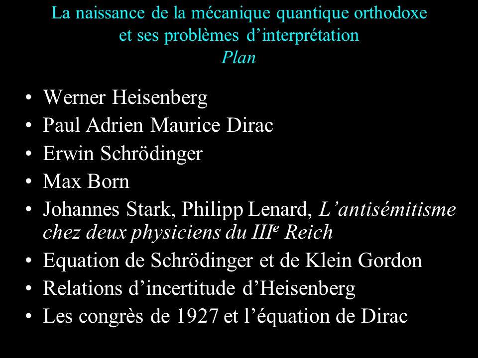 Paul Adrien Maurice Dirac Erwin Schrödinger Max Born