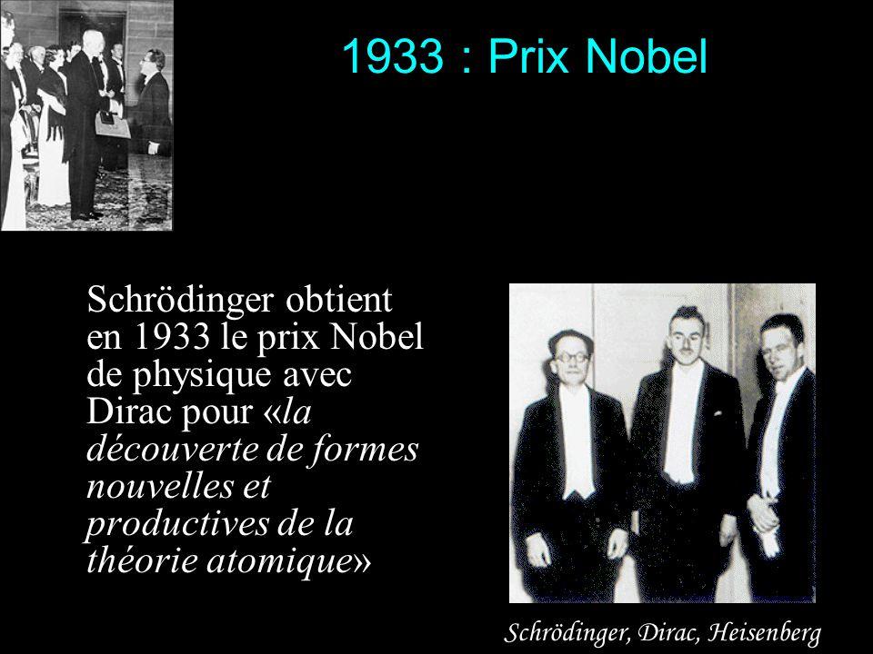 1933 : Prix Nobel