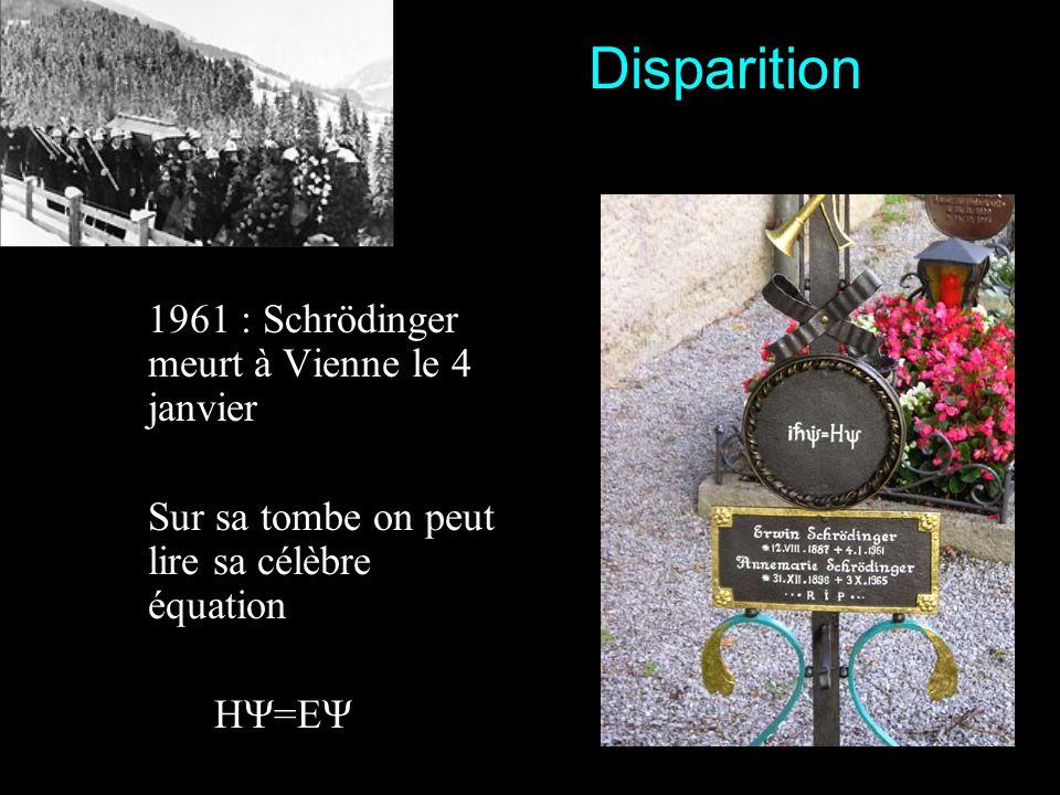 Disparition 1961 : Schrödinger meurt à Vienne le 4 janvier