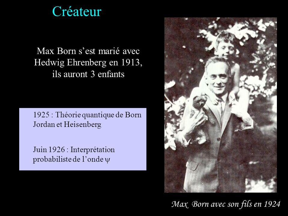 Créateur Max Born s'est marié avec Hedwig Ehrenberg en 1913, ils auront 3 enfants. 1925 : Théorie quantique de Born Jordan et Heisenberg.