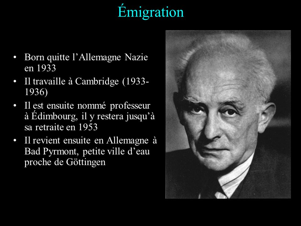 Émigration Born quitte l'Allemagne Nazie en 1933