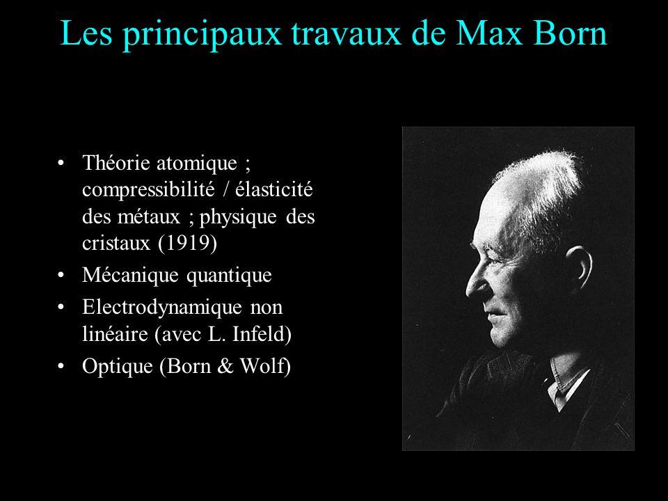 Les principaux travaux de Max Born