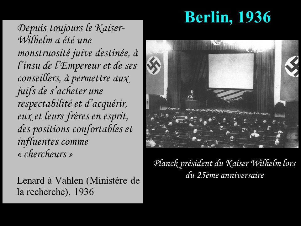 Planck président du Kaiser Wilhelm lors du 25ème anniversaire