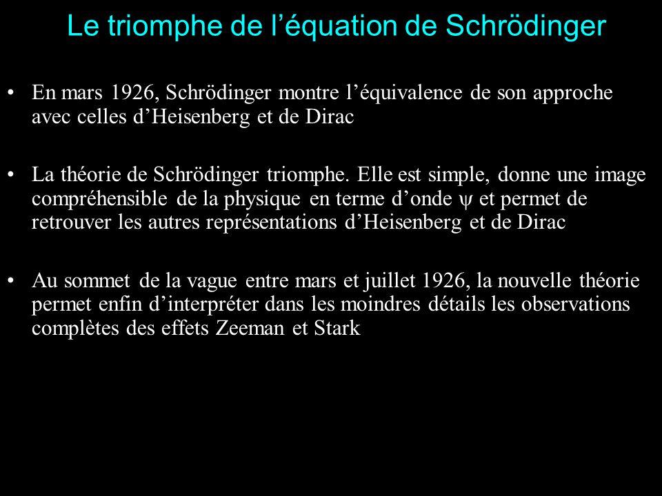 Le triomphe de l'équation de Schrödinger