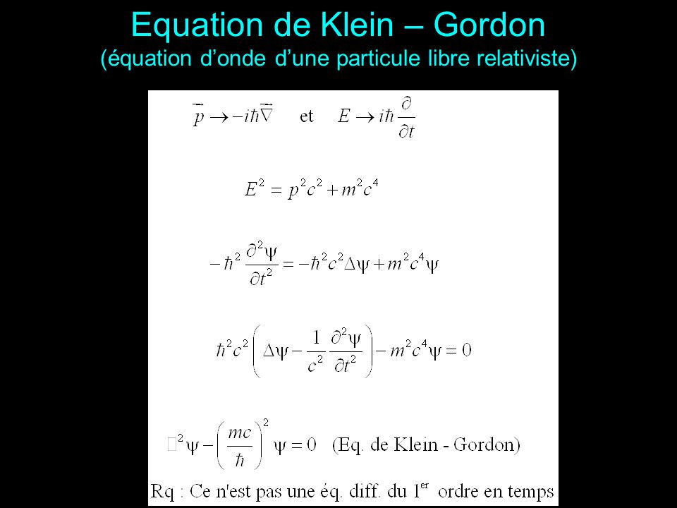 Equation de Klein – Gordon (équation d'onde d'une particule libre relativiste)